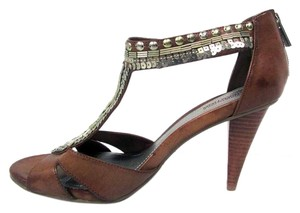 Kenneth Cole Reaction Open Toe Sequined High Heels Brown Pumps