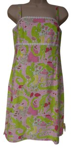 Lilly Pulitzer short dress pink and green New W/Tag Sun Spaghetti Straps Alligators on Tradesy