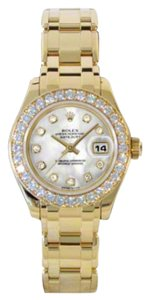 Rolex Rolex Pre-Owned Datejust Pearlmaster Yellow Gold Mother of Pearl Diamond Dial 29mm