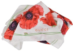 Gucci New Gucci Women's 303940 Red Poppy Floral Silk Twill Neck Scarf