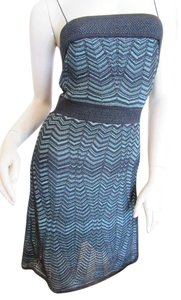 Missoni short dress Blue, Black White Label Size 10 Short Strapless on Tradesy