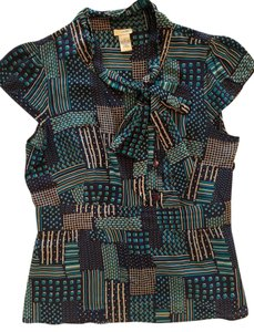 Odille Tie Neck Printed Silk Work Top Multi/Print