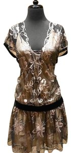 James Coviello Lace Silk Holiday Little Dress