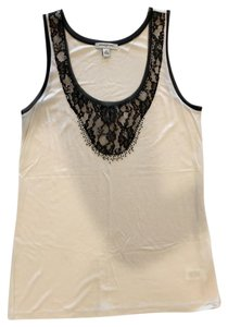 Banana Republic Lace Beading Date Night Top Ivory/Black