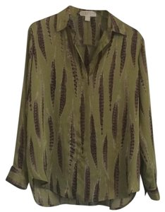 Michael Kors Silk Feather Designer Top Multi/Print