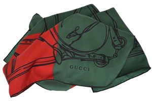 Gucci New Gucci Women's 421063 Silk Red Green Bandana Riding Horse Twill Neck Scarf