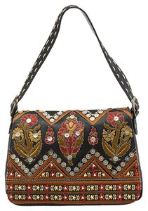 Isabella Fiore Leather Embroidered Embellished Shoulder Bag