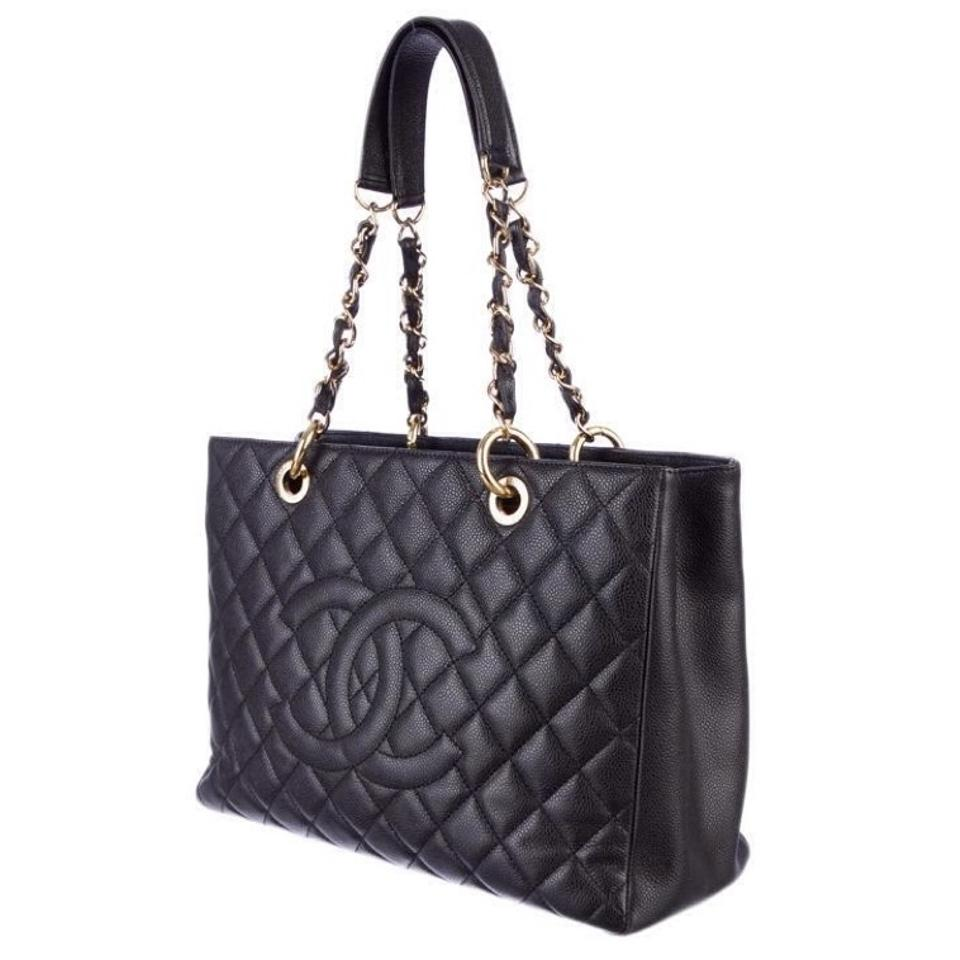 668f7f6f38c1 Chanel Grand Shopping Gst Quilted Classic Timeless Cc Logo Black Caviar  Leather Tote - Tradesy