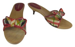 Burberry Red Nova Check Heels Leather Sandals