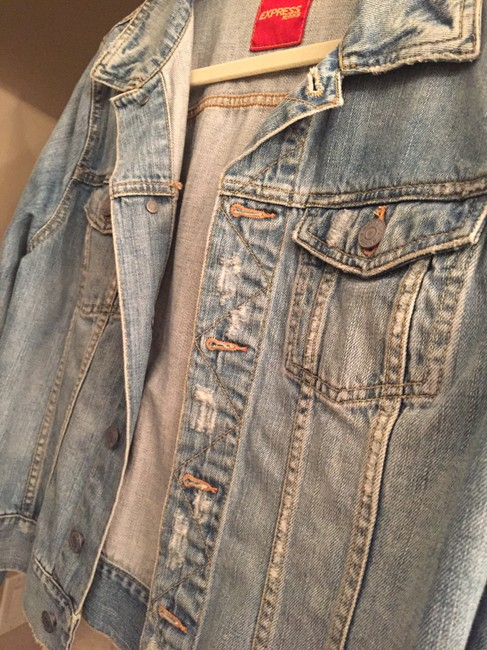 Express Distressed Denim Womens Jean Jacket Image 2