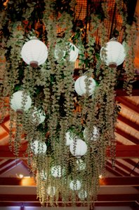 Romantic & Rustic Dance Floor Decor! Hanging Wisteria Flowers With Battery Operated Lanterns!