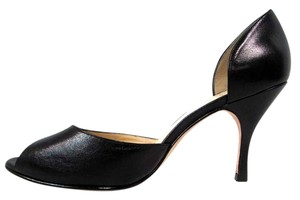 J Vincent Slip On Peep Toe High Heels Black Pumps