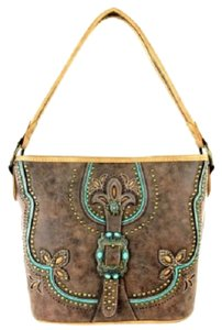 Montana West Conceal Pocket Suede Feel Tote in Coffee