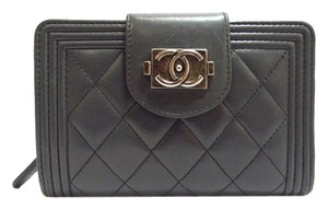 Chanel Dark Grey Quilted Lambskin Leather Boy Wallet