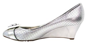 BCBGeneration Slip On Peep Toe Dot Textured Silver Wedges