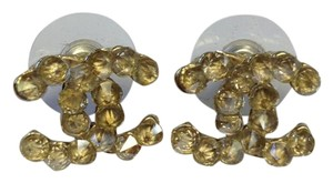 Chanel #7613 CC Clear Rare Spiky Spike crystals on Gold pierced stud earrings