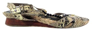 Stuart Weitzman Snakeskin Wedge Ankle Strap Buckle Brown Sandals