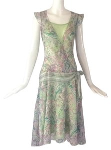 Jonathan Martin short dress Green/ pink on Tradesy