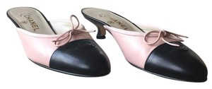 Chanel Black & Ballet Pink Mules