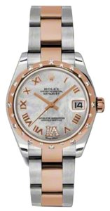 Rolex Rolex New Style Pre Owned Datejust Steel and Rose Gold Mother of Pearl Roman Diamond Dial 31mm