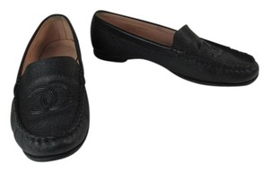 Chanel Black Leather Cc Logo Loafer Flats