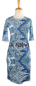Lisa Nieves short dress cobalt blue and white print Lycra Stretchy Pencil Longsleeve on Tradesy