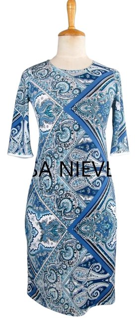 Preload https://item3.tradesy.com/images/lisa-nieves-lycra-stretchy-dress-cobalt-blue-and-white-print-1754012-0-0.jpg?width=400&height=650