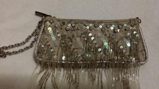 Guess Beaded Fringe Wristlet in Grey