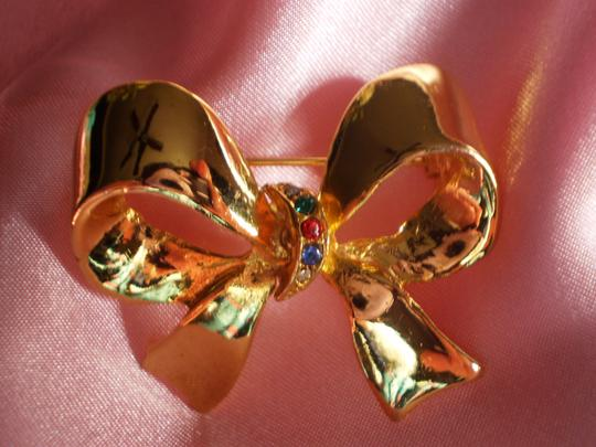 Other Like new Vintage bow w/multi-color stones pin