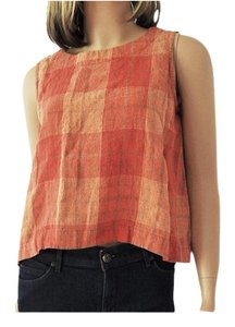Eskandar Coral Windowpane Crop Top Orange