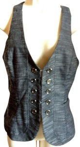 Timing Vest Corset Fitted Medium Charcoal Gray Lined Stretch Top Black, White