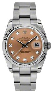 Rolex Rolex New Style Pre Owned Datejust Steel and White Gold Custom Pink Diamond Dial 36mm.