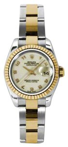 Rolex Rolex New Style Pre Owned Datejust Steel and Yellow Gold Ivory Jubilee Arabic Dial 26mm