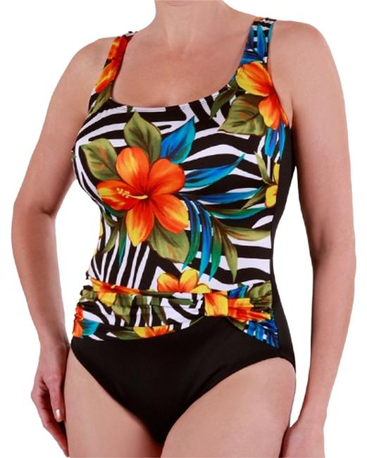 Item - Black Tropical Tummy Control Slimming Swimsuit One-piece Bathing Suit Size 10 (M)
