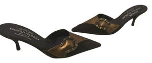 Donald J. Pliner All Padded Insoles Horseshoe Italian Bronze leather brown suede leather Mules