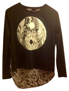 Other Glitter Yin Yang Top Black and white