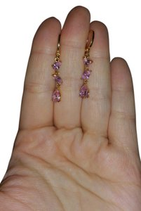 Unknown Pink Crystal Teardrop Earrings