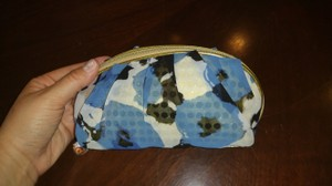 Unknown Blue & Gold Multi Color Zippered Cosmetic Bag