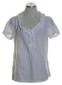 Talbots Short Leeve Woven 100% Linen Top White