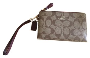 Coach Wristlet in Maroon and Brown