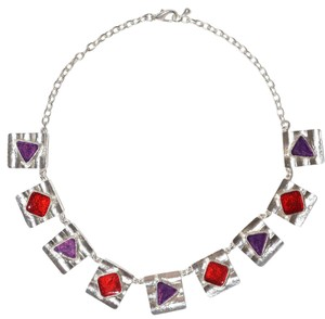 Other Pewter Max B Wavy Hammered Multi-Color Necklace