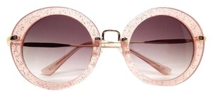 Elle Cross Elle Cross Retro Pink Sparkle Glitter Pink Translucent Round Sunglasses Gold Tone Hardware