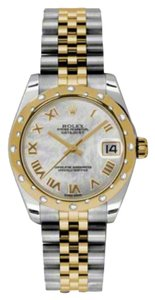 Rolex Rolex New Style Pre Owned Datejust Steel and Yellow Gold Mother of Pearl Roman Dial 31mm