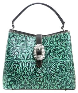 Montana West Tooled Leather Floral Tooling Satchel in Black & Turquoise