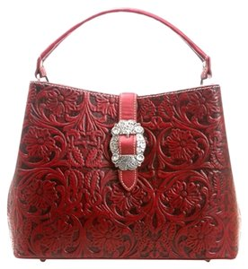 Montana West Tooled Leather Floral Tooling Satchel in Red