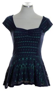 Anthropologie Knit Stretch Top Blue Green