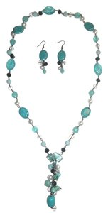 Natural Long Turquoise Necklace & Earrings Set