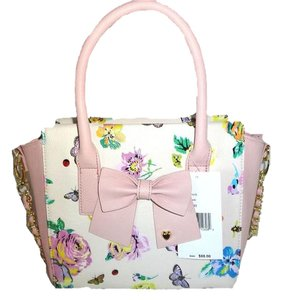 Betsey Johnson Bone Cross Body Floral Tote in bone/floral/blush