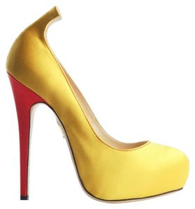Charlotte Olympia Date Night Party Unique Pumps Yellow Platforms