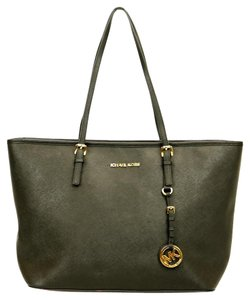 Michael Kors Saffiano Gold Lined Tote in Black